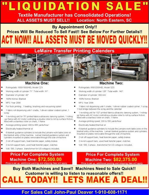 current liquidations and inventory sales flyer